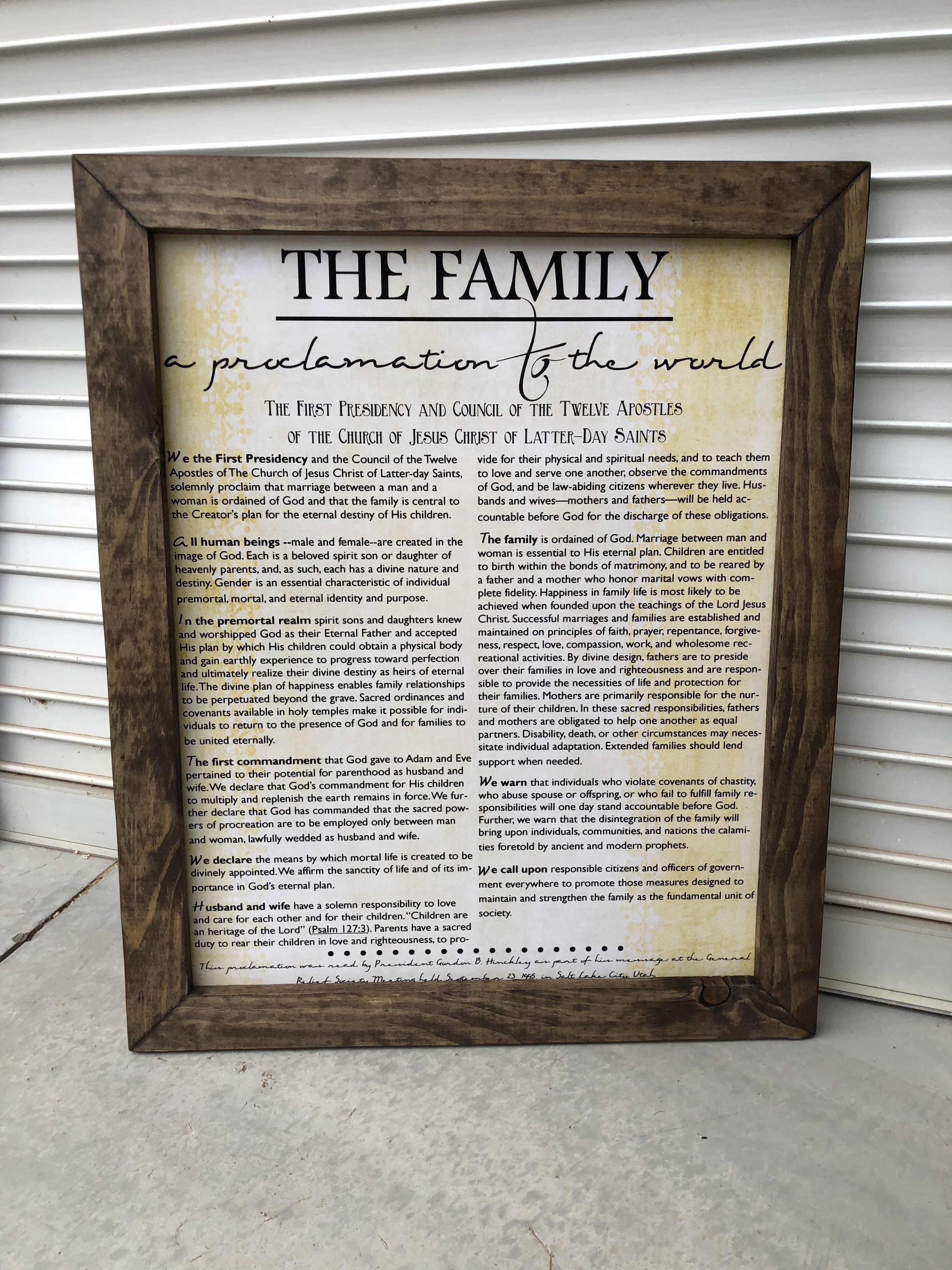 Family Proclamation with Rustic Frame - Freckle Barn
