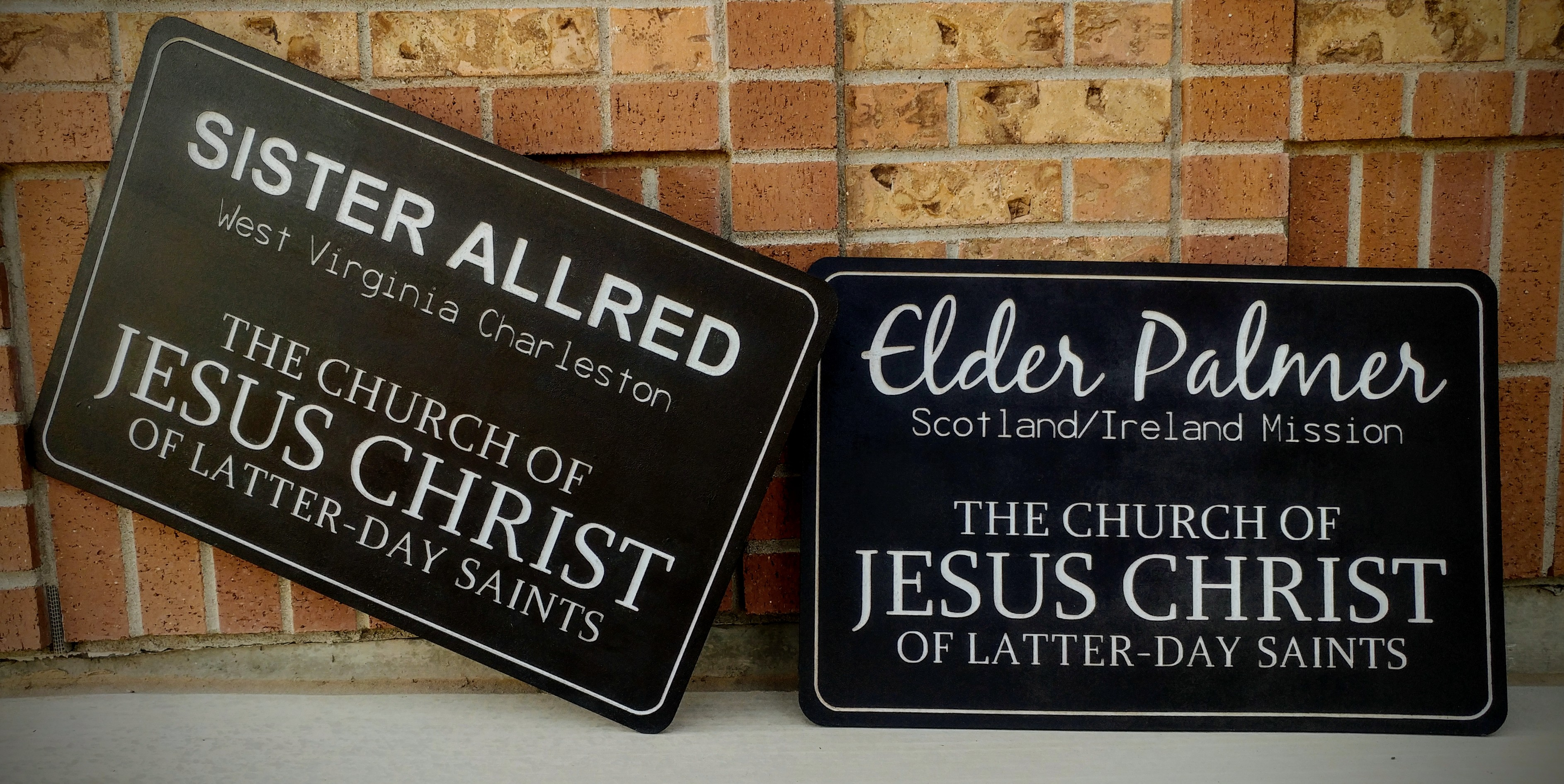 Giant Engraved Missionary Name Tag Signs